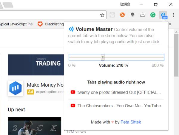 Passen Sie die Lautstärke in Google Chrome-Registerkarten mithilfe von Volume Master separat an