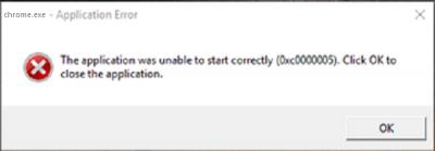 Programos klaida: programos nepavyko tinkamai inicijuoti 0xc0000005
