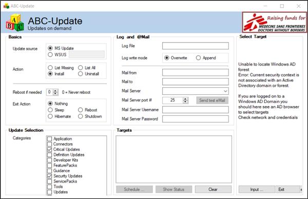 Ajakava Windows 10 Update allalaadimise ja installimise aeg, kasutades ABC-Update'i