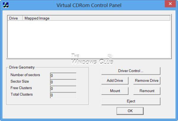 Panneau de configuration du CD-ROM virtuel de Microsoft - Monter les fichiers d'image disque ISO