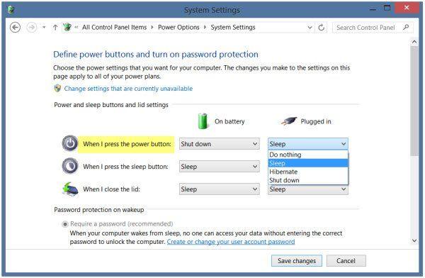 Comment changer ce que fait le bouton d'alimentation dans Windows 10