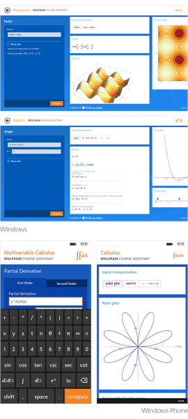 """Wolfram Alpha"" matematikos kurso asistento programos, skirtos ""Windows 8.1"" ir ""Windows Phone 8.1"""