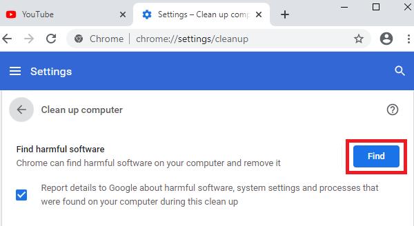 Opravit chybu Chyba vyhledávání při spuštění skeneru malwaru Chrome