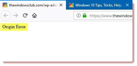 إصلاح خطأ الأصل عند تحميل صفحة الويب