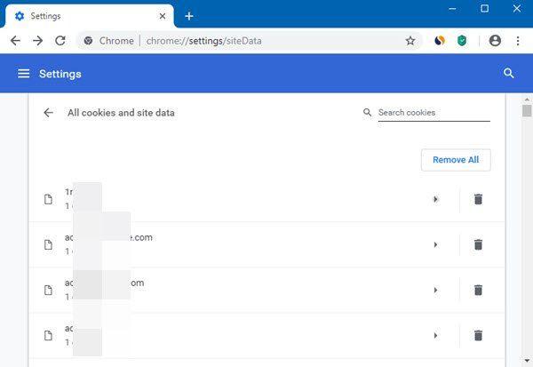 Borrar cookies, datos del sitio, caché para un sitio web específico en Chrome, Edge, Firefox