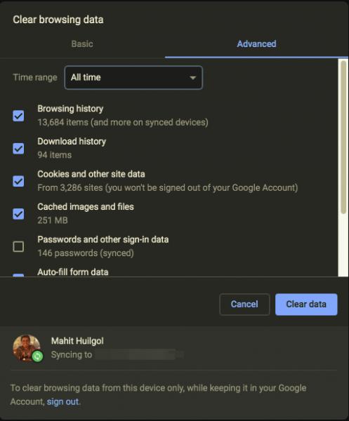 O Google Chrome não limpa o histórico de navegação e os dados