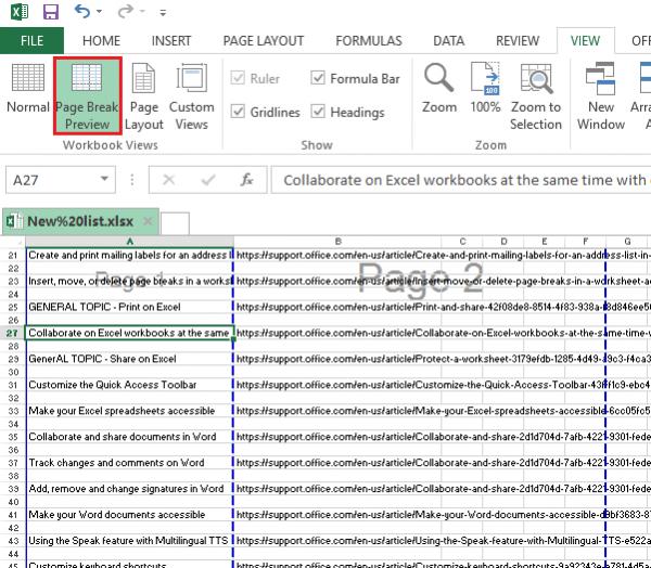 Kuidas lisada, teisaldada või kustutada Exceli töölehel lehe purunemisi