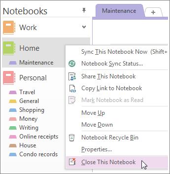 OneNote'i märkmiku kustutamine OneDrive'ist