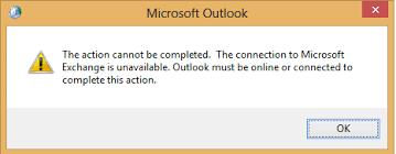 Savienojums ar Microsoft Exchange nav pieejams, programmai Outlook jābūt tiešsaistē vai savienotai