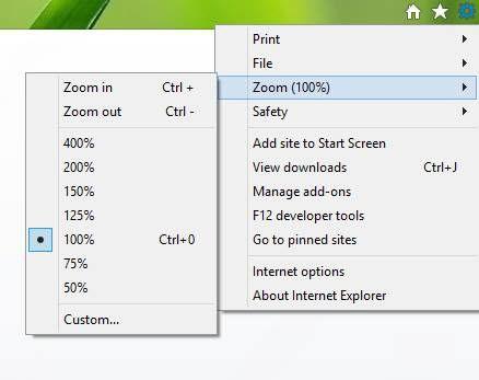 Einstellen oder Ändern der Zoomstufe in Internet Explorer