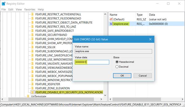 Comment désactiver la notification de mise à niveau de fin de vie d'Internet Explorer