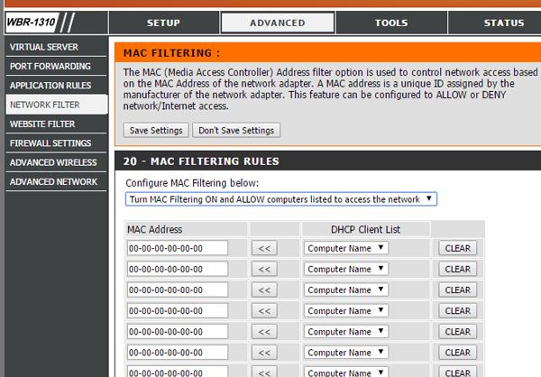 Cara mengatur pemfilteran MAC di router Dlink