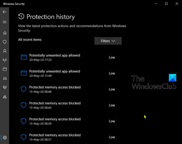 Comment effacer manuellement l'historique de protection Windows Defender dans Windows 10