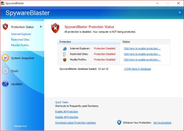 Version gratuite de Spyware Blaster: protégez votre PC Windows