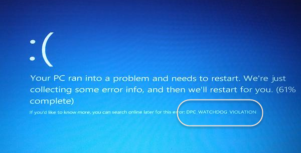 PELANGGARAN DPC WATCHDOG Blue Screen di Windows 10
