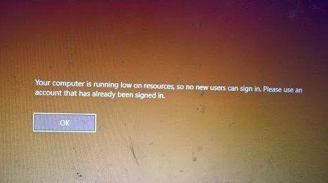 Su equipo se está quedando sin recursos, error, por lo que no pueden iniciar sesión nuevos usuarios