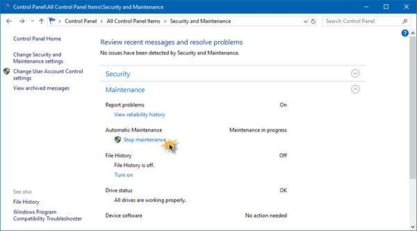 Message de maintenance en cours dans le centre d'action Windows 10