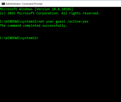 Désactiver, activer le compte invité dans Windows 10 à l'aide de l'invite de commande