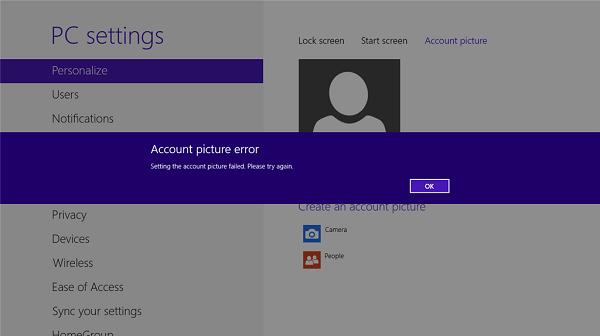 Inställningen av kontobilden misslyckades. Försök igen fel i Windows 8/10