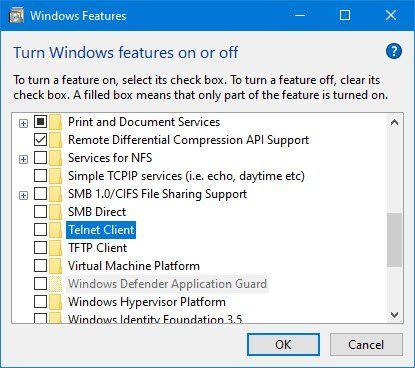 Activez Telnet via l'invite de commande ou le panneau de configuration dans Windows 10