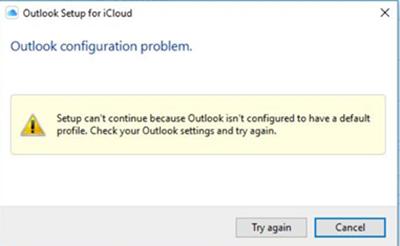 Nastavení iCloudu nemůže pokračovat, protože Outlook není nakonfigurován tak, aby měl výchozí profil