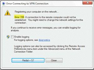 VPN pogreška 720 - Pogreška pri povezivanju s VPN vezom