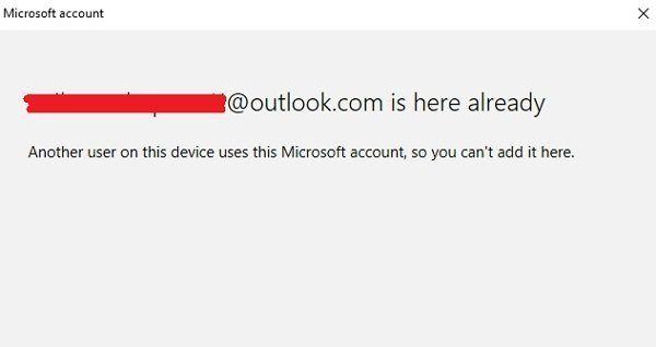 Selle seadme teine kasutaja kasutab seda Microsofti kontot, nii et te ei saa seda siia lisada