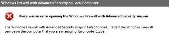 """Nepavyko įkelti """"Windows"""" užkardos su papildomos saugos papildiniu, 0x6D9 klaida"""