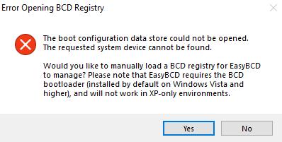 Der Startkonfigurationsdatenspeicher konnte nicht geöffnet werden