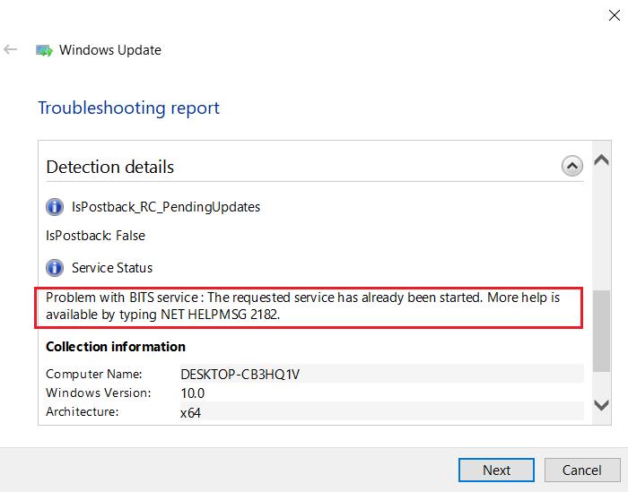 NET HELPMSG 2182 problème avec le service BITS