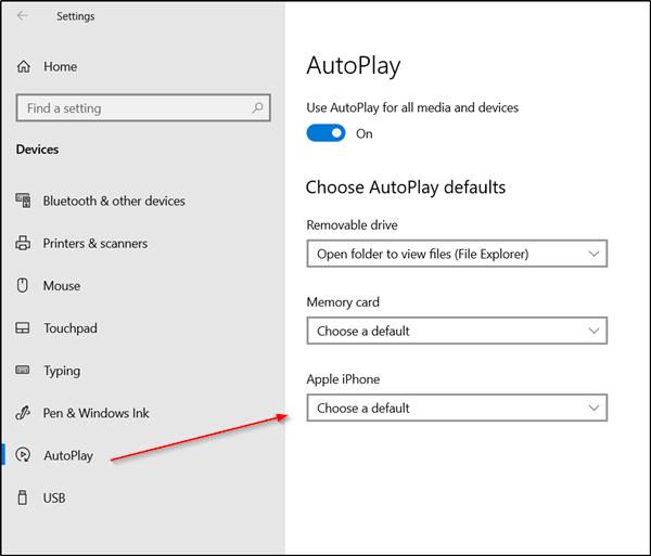 Mencegah aplikasi Foto dibuka saat menghubungkan Ponsel Anda ke PC Windows 10