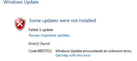 Opravte chybu Windows Update 0x80073712 ve Windows 10