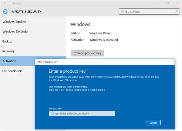 Periksa status pengaktifan Windows 10, aktifkannya, atau Ubah kunci produk