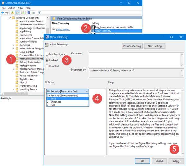 Halda Windows 10 telemeetria ja andmekogumise seadeid