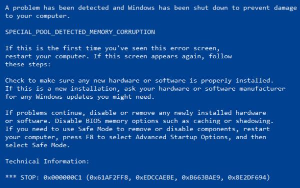 CORRUPCIÓN DE MEMORIA DETECTADA EN PISCINA ESPECIAL Código de detención en Windows 10