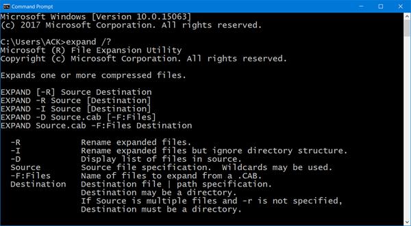 CAB-faili ekstraktimine käsurea tööriistade abil Windows 10-s