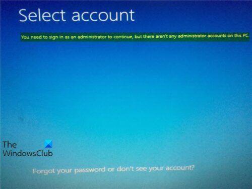 Chcete-li pokračovat, musíte se přihlásit jako správce, ale v tomto počítači nejsou žádné účty správce