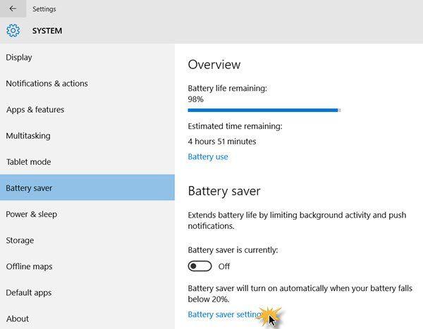 Kuinka säästää virransäästötilan asetuksia Windows 10: ssä