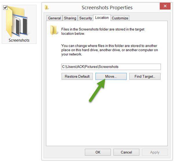 Comment changer l'emplacement du dossier des captures d'écran d'impression dans Windows 10