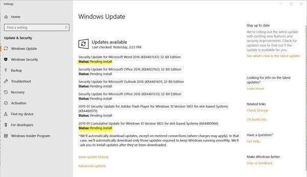 Stav Windows Update Čeká na instalaci nebo stažení, inicializace, stahování, instalace, čeká na instalaci