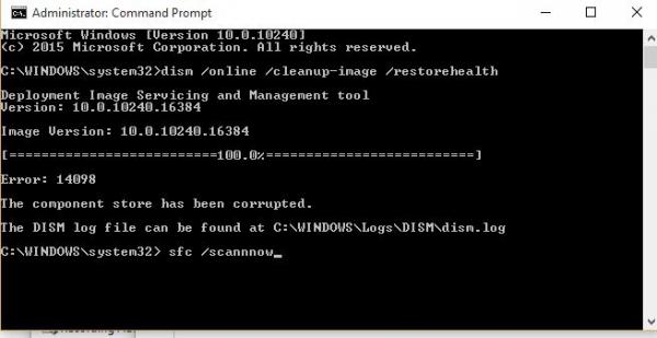 Ralat DISM 14098, Stor komponen telah rosak