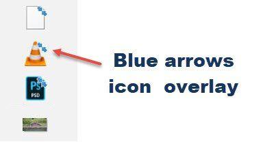 Was sind diese 2 kleinen blauen Pfeilüberlagerungen, die auf Desktopsymbolen angezeigt werden?