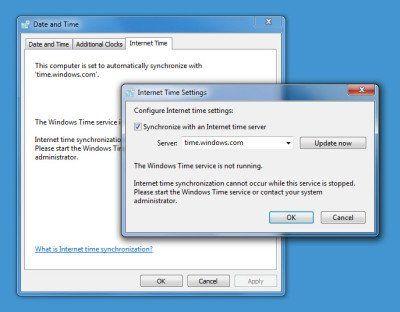 El servicio de hora de Windows no funciona. La sincronización de hora falla con error