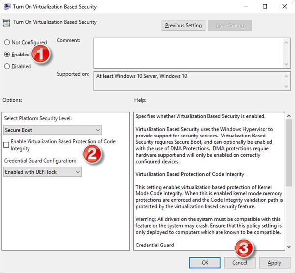 Aktivieren Sie Credential Guard in Windows 10 mithilfe von Gruppenrichtlinien