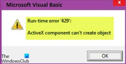 Pogreška tijekom izvođenja 429, ActiveX komponenta ne može stvoriti objekt
