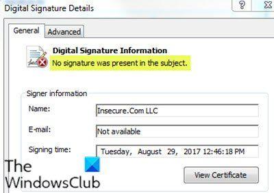 Nenhuma assinatura estava presente no assunto - Detalhes de assinatura do motorista