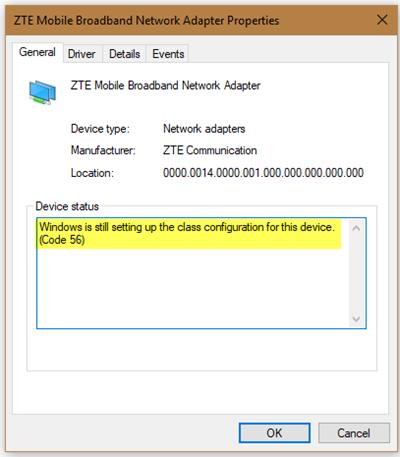 O Windows ainda está definindo a configuração de classe para este dispositivo, Código 56