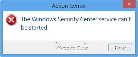 Der Windows Security Center-Dienst kann nicht gestartet werden