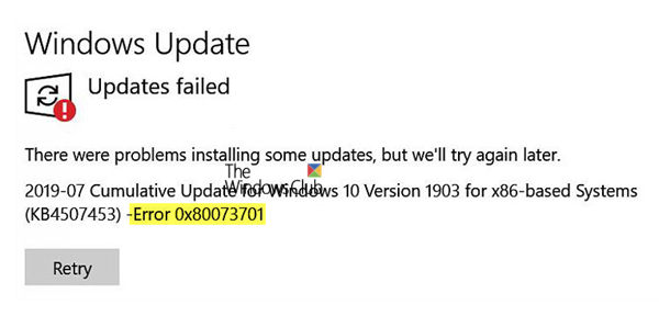 No se pudieron instalar las actualizaciones de Windows - Error 0x80073701