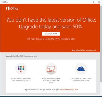 Désactiver, désinstaller ou supprimer la notification de l'application Get Office dans Windows 10